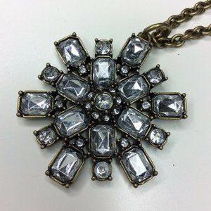 J.Crew Starbust Snowflake Antique Look Necklace
